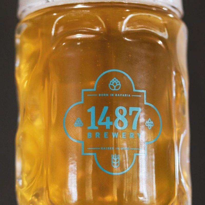 German Oktoberfest Mug - 1-liter Glass 1487 Brewery