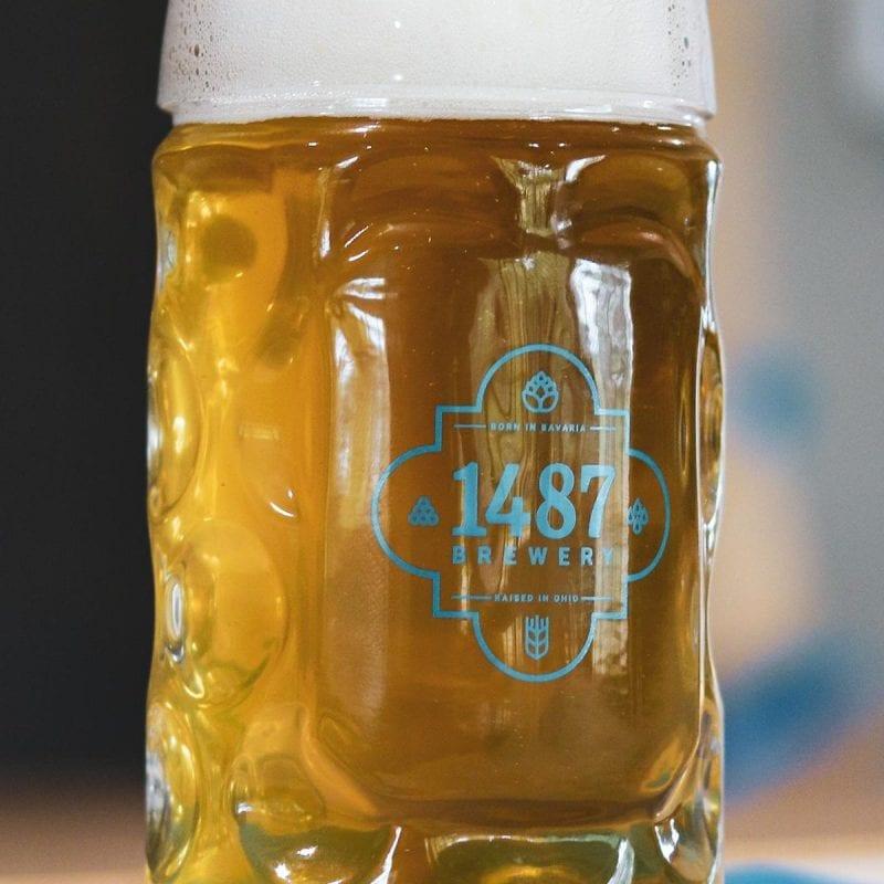 German Oktoberfest Mug - 1-liter and 1/2-liter Glass 1487 Brewery